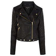 Buy Warehouse Zip and PU Quilted Biker Jacket, Black Online at johnlewis.com