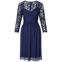 Buy Adrianna Papell Draped Lace Dress, Navy Online at johnlewis.com