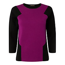 Buy Jaeger Contrast Panel Jumper, Black / Purple Online at johnlewis.com
