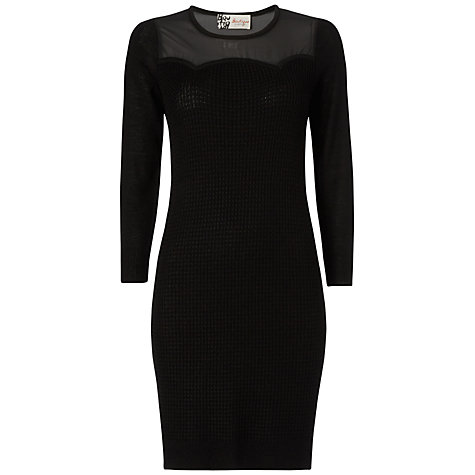Buy Boutique by Jaeger Sheer Panel Sweater Dress, Black Online at johnlewis.com