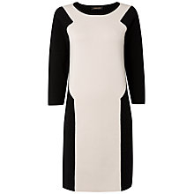 Buy Jaeger Contrast Panel Knitted Dress, Black / White Online at johnlewis.com