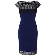 Buy Adrianna Papell Placed Lace Border Dress, Blue Online at johnlewis.com