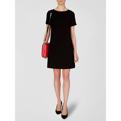 Buy Jaeger Pleat Shift Dress, Black Online at johnlewis.com
