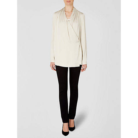 Buy Jaeger Drape Wrap Top, Oyster Online at johnlewis.com