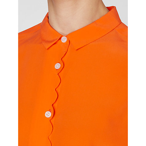 Buy Boutique by Jaeger Scallop Front Silk Blouse, Lava Online at johnlewis.com