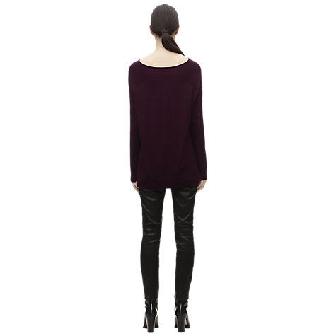 Buy Whistles Elsa Silk Mix Boxy Knit Jumper, Burgandy Online at johnlewis.com