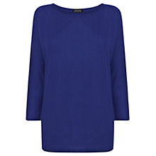 Buy Warehouse Shoulder Pad Batwing Top, Blue Online at johnlewis.com
