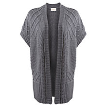 Buy East Textured Cable Knit Gilet, Graphite Online at johnlewis.com