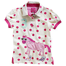 Buy Little Joule Girls' Moxie Polo Horse Top, Pink Online at johnlewis.com