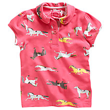 Buy Little Joule Girls' Lena Horse Print Polo Shirt, Pink Online at johnlewis.com