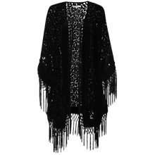 Buy True Decadence Velvet Baroque Kimono Top, Black Online at johnlewis.com