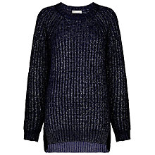 Buy Whistles Chunky Knit Sparkle Boxy Jumper, Navy Online at johnlewis.com