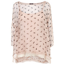Buy Phase Eight Bow Print Silk Blouse, Pale Pink Online at johnlewis.com