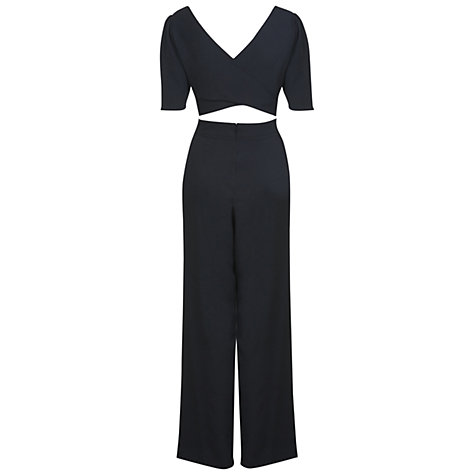 Buy Miss Selfridge Crepe Cross Jumpsuit, Black Online at johnlewis.com