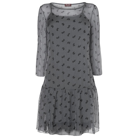 Buy Phase Eight Bow Print Silk Dress, Charcoal Online at johnlewis.com