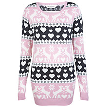 Buy Miss Selfridge Reindeer Christmas Jumper, Grey Online at johnlewis.com