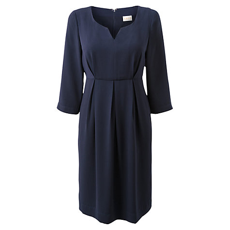 Buy East Crepe Notch Neck Dress, Navy Online at johnlewis.com
