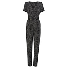 Buy Warehouse Texture Print Jumpsuit, Black Online at johnlewis.com