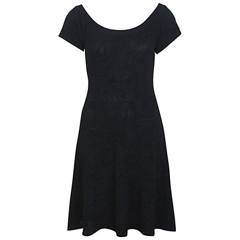 Buy Miss Selfridge Paisley Skater Dress, Black Online at johnlewis.com