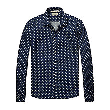 Buy Scotch & Soda Polka Dot Oxford Long Sleeve Shirt, Navy Online at johnlewis.com