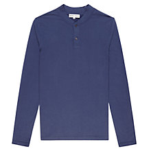 Buy Reiss Porto Long Sleeve Grandad Top, Blue Online at johnlewis.com