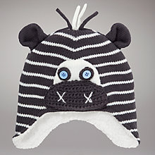 Buy John Lewis Zebra Trapper Hat, Grey Online at johnlewis.com