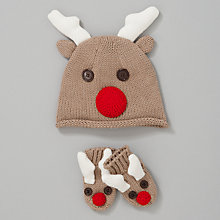 Buy John Lewis Baby Reindeer Hat and Mittens Set, Brown Online at johnlewis.com