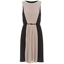 Buy Adrianna Papell Pleated Front Crepe Dress, Black/Ecru Online at johnlewis.com