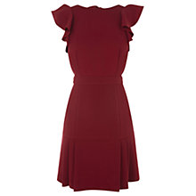 Buy Warehouse Frill Sleeve Dress, Bright Red Online at johnlewis.com
