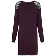 Buy Whistles Miranda Lace Insert Dress, Burgundy Online at johnlewis.com