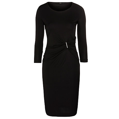 Buy BOSS Woman Ruched Front Dress, Black Online at johnlewis.com