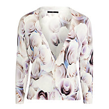 Buy BOSS Woman Rose Printed Cardigan, Faded Rose Online at johnlewis.com
