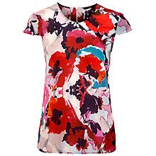 Buy BOSS Woman Idela Top, Red Floral Online at johnlewis.com