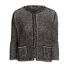 Buy BOSS Woman Leather Trim Cardigan, Black/White Online at johnlewis.com
