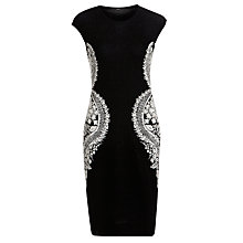 Buy BOSS Woman Contrast Side Dress, Black/White Online at johnlewis.com