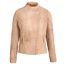 Buy BOSS Orange Jumma Leather Jacket, Medium Beige Online at johnlewis.com