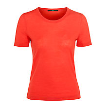 Buy BOSS Woman Short Sleeved Knitted Top, Red Online at johnlewis.com