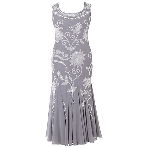 Buy Chesca Embroidered Dress, Grey/Silver Online at johnlewis.com