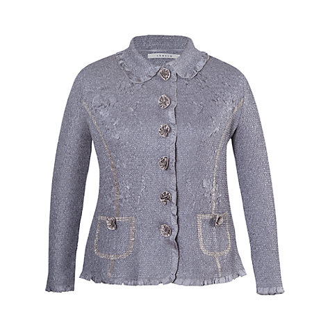 Buy Chesca Silver Grey Peter Pan Collar Crush Pleat Blouse, Grey/Silver Online at johnlewis.com