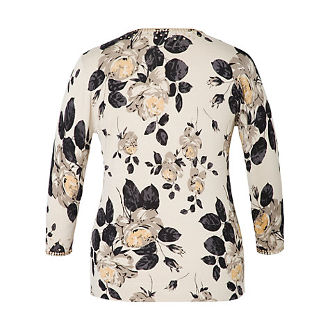 Buy Chesca Rose Print Cardigan, Vanilla Online at johnlewis.com