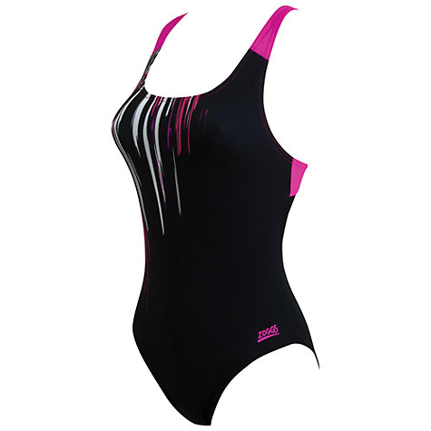 Buy Zoggs Wandina Speedback Patterned Swimsuit, Black/Pink Online at johnlewis.com