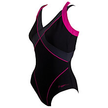 Buy Zoggs Modern Chic Dual Crossback Swimsuit, Black/Pink Online at johnlewis.com