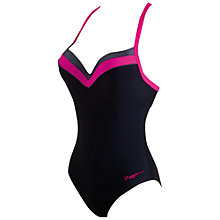 Buy Zoggs Modern Chic Boost Swimsuit, Black/Pink Online at johnlewis.com