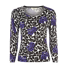 Buy Precis Petite Floral Print Jumper, Black/Purple Online at johnlewis.com