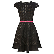Buy Oasis Sleeved Spot Dress, Black Online at johnlewis.com
