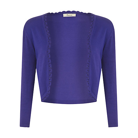 Buy Precis Petite Ultra Violet Beaded Trim Shrug, Purple Online at johnlewis.com