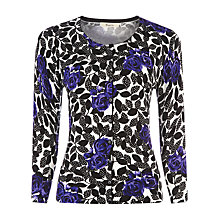 Buy Precis Petite Floral Print Cardigan, Black/Purple Online at johnlewis.com