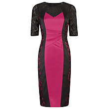 Buy Alexon Lace and Pleat Illusion Dress, Pink Online at johnlewis.com