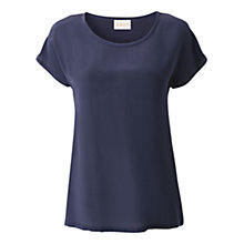 Buy East Silk Front T-Shirt, Navy Online at johnlewis.com