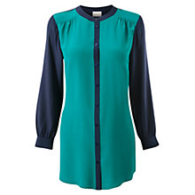 Buy East Colour Block Front Silk Shirt, Jade Online at johnlewis.com